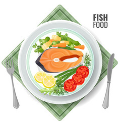 fish food roasted salmon meat set vector image