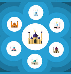 Flat icon mosque set of islam muslim structure vector