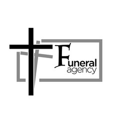 Funeral agency logo with cross and text in grey vector