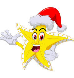 funny yellow christmas star wearing red hat vector image
