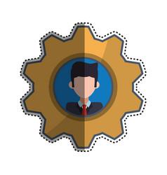 Gear frame businessman faceless picture vector