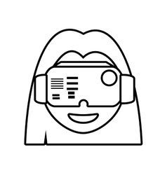Girl virtual reality glasses technology outline vector