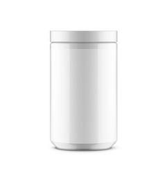 Glossy plastic jar sport powder vitamins or other vector