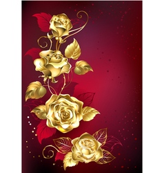 Gold Roses on Red Background vector