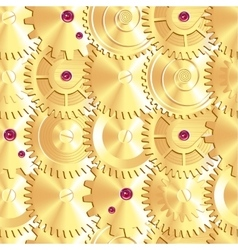 Golden clock gears arranged as fish scales vector image