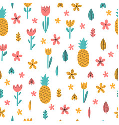 hand drawn summer seamless pattern with flowers vector image