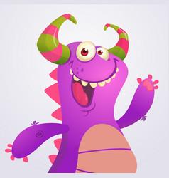 happy cartoon violet dragon vector image
