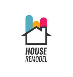 house remodel - logo with house silhouette vector image