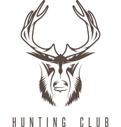 Hunting vintage emblem design template with deer vector