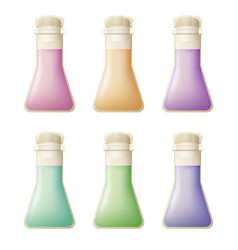 icons set of colorful chemical flasks vector image