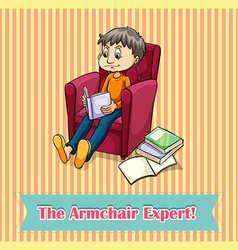 Idiom the armchair expert vector image