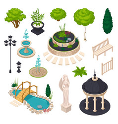 isometric elements for city landscape constructor vector image