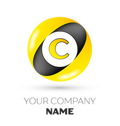 letter c logo symbol in the colorful circle vector image