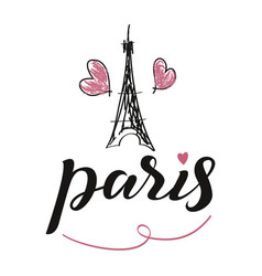 love paris card modern brush calligraphy hand vector image