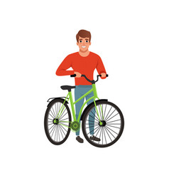 Man standing next to his bike active lifestyle vector