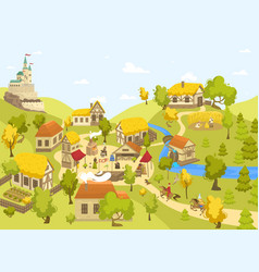 Medieval village with castle half timbered houses vector