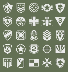 Military icons symbol set on green vector image