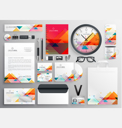 Modern set of brand stationery items with vector