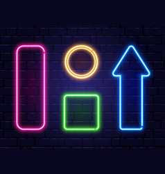 neon frames isolated on brick wall background vector image