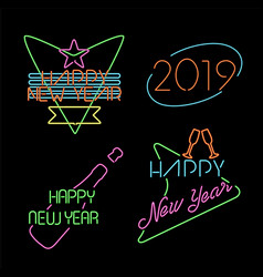 New year neon light set label retro 2019 elements vector