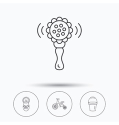 Newborn rattle and first bike icons vector image