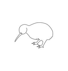 One single line drawing cute kiwi animal vector