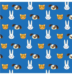 Pet heads pattern isolated on blue background vector image