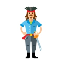 Pirate with saword Flat style colorful vector image