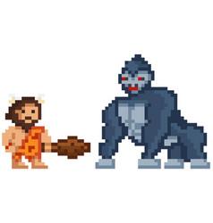 Pixelated warrior primitive man holding club vector