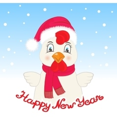 Rooster in a Santa Claus hat Happy New Year vector image