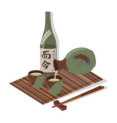 Sake glass bottle and japan hieroglyph vector