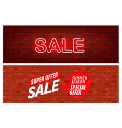 sale banners bick wall with sale inscription set vector image