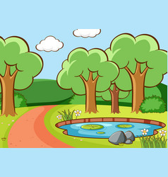 Scene with trees and pond in forest vector