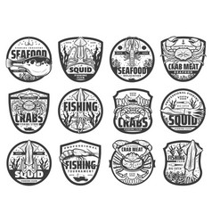 Sea fishing sport icons emblems vector