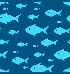 Seamless pattern with sketch size variation fish vector