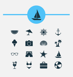 season icons set collection of sea star smelting vector image