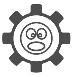 Service gear shout smiley flat icon vector