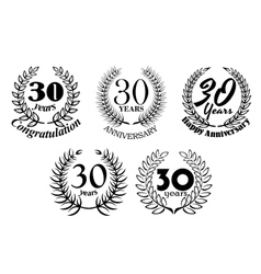 Set 30 years anniversary laurel wreaths vector