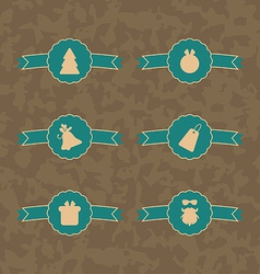 Set Christmas decoration vintage labels vector image