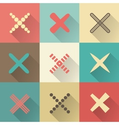 Set of different retro crosses and tics vector