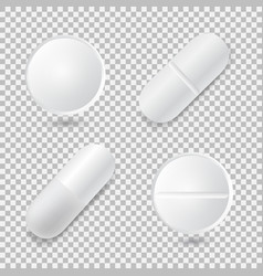 set of four different realistic white pills vector image