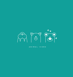 set of funny contour animal icons vector image