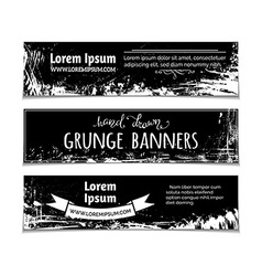 Set of grunge blackboard horizontal banners vector