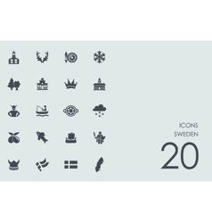 Set of Sweden icons vector image