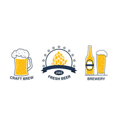 set outline vintage beer and brewery logos vector image