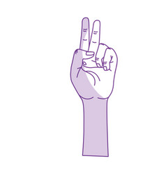 Silhouette hand with middle finger and fingerprint vector