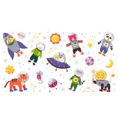 space animal kids cartoon bacharacters in vector image
