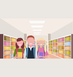 students holding books happy pupils standing near vector image