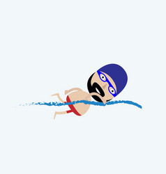 swimming man - modern colorful cartoon character vector image