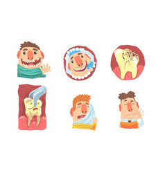 Toothache and visit to dental clinic funny vector